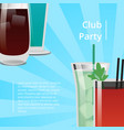 club party poster with bloody mary cocktail vector image