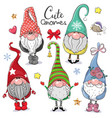 cute cartoon gnomes isolated on a white background vector image vector image
