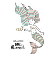 cute little mermaid with fish under the sea vector image vector image