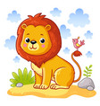 Cute young lion is sitting on a sand meadow