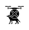 dont fly above animals black glyph manual label vector image