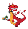 dragon waiter with food tray vector image vector image
