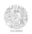 eco energy in circle - concept line vector image