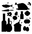 everyday food common goods black silhouette vector image vector image