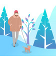 female walking with dog in winter park vector image vector image