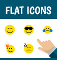 flat icon face set of cold sweat happy have an vector image vector image
