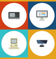 flat icon laptop set of display pc computing and vector image vector image