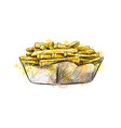 french fries in paper basket from a splash of vector image vector image