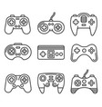 gamepads icon set on white background line style vector image