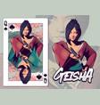 geisha for queen spades playing card design vector image vector image