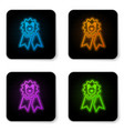 glowing neon dog award symbol icon isolated on vector image vector image