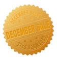 gold december sale award stamp vector image vector image