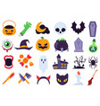 halloween icons holiday symbols moon and spider vector image vector image