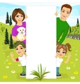 happy family behind a white blank billboard vector image