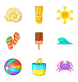 hot weather icons set cartoon style vector image vector image