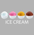 ice cream scoops in white cups of chocolate vector image