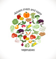 Isolated vegetables in a circle vector image vector image