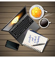 laptop and phone with coffee and pancake and book vector image vector image