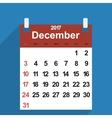 Leaf calendar 2017 with the month of December vector image vector image