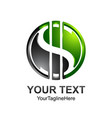 letter s logo design template colored black green vector image