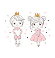 lovely prince and princess the boy gives girl vector image