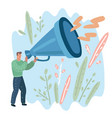 man with megaphone promoting news vector image vector image