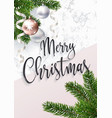 merry christmas greeting card marble and fir tree vector image vector image