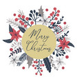 merry christmas greeting card with floral vector image