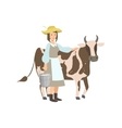 Milkmaid With Cow And Metal Bucket Milk vector image vector image