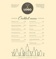 modern minimalistic cocktail menu template vector image