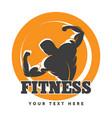 posing bodybuilder fitness emblem vector image vector image