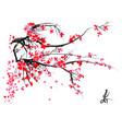 realistic sakura blossom - japanese cherry tree vector image