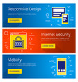 responsive design internet security mobility line vector image vector image