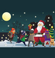 santa claus giving out christmas presents to kids vector image vector image