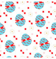 seamless pattern with blue easter eggs vector image