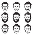 set of man heads with different hairstyle barber vector image vector image