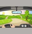 someone drives by car over a country road vector image