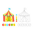 striped circus tent coloring book page vector image