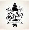 surfing emblem template surfboard silhouette with vector image vector image