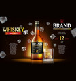 whiskey ads label design realistic glass whiskey vector image vector image
