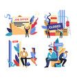 work and unemployment problem isolated icons job vector image