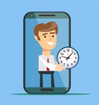 young man from smartphone screen giving time vector image