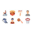 basketball and attributes icons in set collection vector image