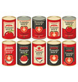 a tin cans with labels tomato soup vector image vector image