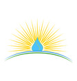 a water drop with sunrise vector image vector image