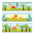 africa baby clipart giraffe monkey trees clouds vector image vector image