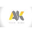 ak black lines letter logo creative line letters vector image vector image