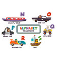 alphabet with transport and animals n to s vector image vector image