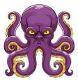 angry cartoon purple octopus vector image vector image