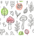 autumn pattern with mushrooms and leaves vector image